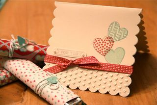 Valentine card and wrapped candy bars